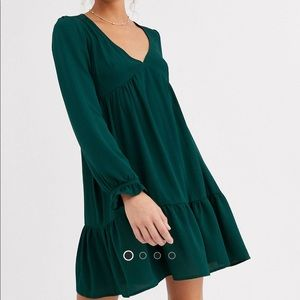 ASOS V Neck Green Long Sleeve Smock Mini Dress